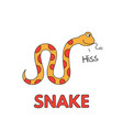 cartoon snake flashcard for children vector image