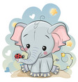cute cartoon elephant with ladybug vector image vector image