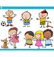 cute little children cartoon set vector image vector image