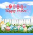 easter eggs on a grass field vector image vector image
