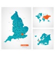 editable template map england with marks vector image vector image