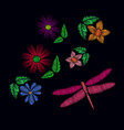 embroidery ethnic flowers with dragonfly vector image