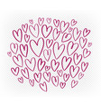 hand drawn red heart set elements doodle vector image