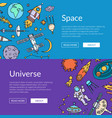 hand drawn space elements horizontal web vector image vector image
