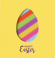 happy easter card with lettering cut out easter vector image vector image