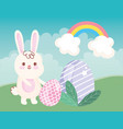 happy easter day rabbit with eggs grass rainbow vector image vector image