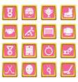 hockey icons set pink square vector image vector image