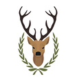 Hunting trophy Deer head in laurel wreath No vector image vector image
