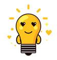 light bulb kawaii cartoon happy cute heart icon vector image vector image