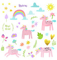 magic unicorn childish elements set with unicorns vector image