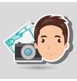 man camera tickets travel vector image vector image