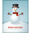 Merry Christmas postcard with snowman background vector image vector image
