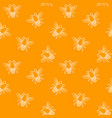 Orange honey bee seamless pattern