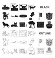 pet black icons in set collection for design care vector image