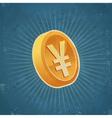 Retro Gold Yen Coin vector image vector image