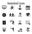 set basketball related icons contains such vector image vector image