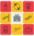 set of 9 airport icons includes takeaway coffee vector image vector image