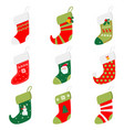 set of different beautiful colored socks prepared vector image