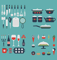 Set of kitchen utensils and food vector image vector image