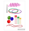 Set of Rhythmic Gymnastic Equipments on White vector image vector image