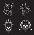 skulls set white skull signs vector image