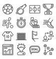 soccer icons set on white background vector image vector image