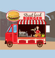 street food car delicious juicy burger with vector image