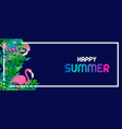 summer banner tropical leaves and flamingo vector image