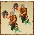 Two character fish men with tail and deity vector image vector image