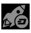 white halftone dash rocket icon vector image vector image