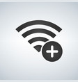 Wifi connection signal icon with add or plus