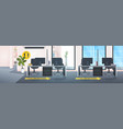 workplace desks with signs for social distancing vector image vector image