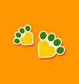 paper sticker on stylish background cat tracks vector image