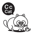 C Cat cartoon and alphabet for children to vector image
