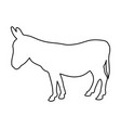 donkey standing of black contour curves on white vector image
