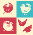 a set of silhouettes of a rooster vector image vector image
