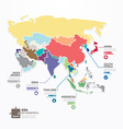Asia Infographic Map Template jigsaw concept vector image vector image