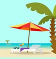 beach lounge chair near sea and sun umbrella vector image