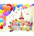 Birthday background with colorful balloon and birt vector image vector image