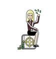 blonde businesswoman sitting on bank safe vector image