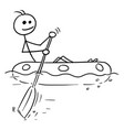 cartoon stick man sailing a rubber boat vector image vector image