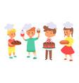 children bake bread useful hobset vector image