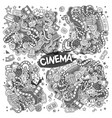 cinema movie film doodles sketchy designs vector image