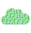 cloud shape of natural leaf with drop icons vector image