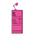 color education bookcase with books and desk lamp vector image vector image