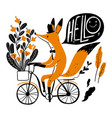 cute fox riding a bike collection of hand drawn vector image