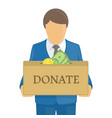 donate box in hands vector image