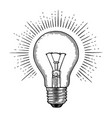 engraving light bulb vector image vector image