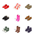footwear icons isometric 3d style vector image vector image