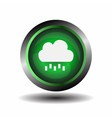 Green glossy button Cloud and rain sign vector image vector image